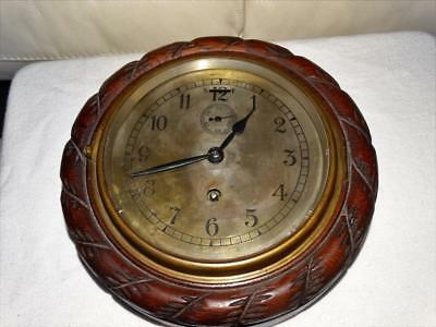 ANTIQUE SHIPS WALL CLOCK,BULKHEAD OAK CARVED ROPE NAUTICAL,COLLECTABLE 19c.