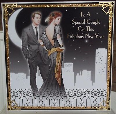 Handmade personalised Art deco new years day card to a special couple