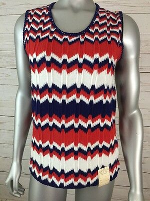 Lake Erie Knitting Mills Womans M Pullover Sweater Vest Red White And Blue NOS