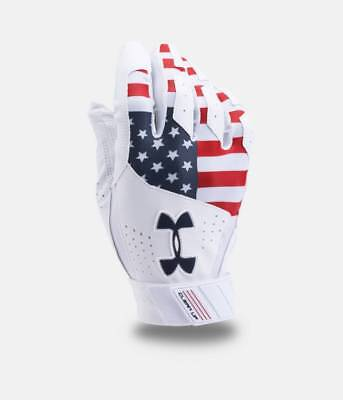 Under Armour Mens UA Clean Up Printed Batting Gloves USA Flag Batting Gloves LE