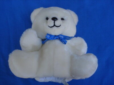 """1983 Collectible Q-Tips White 9"""" Plush Bear Hand Puppet Toy by Trudy"""