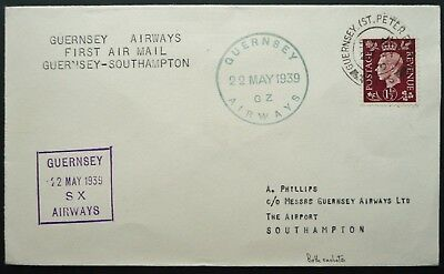 GUERNSEY 22 MAY 1939 1st AIRMAIL FLIGHT COVER TO SOUTHAMPTON - SEE!