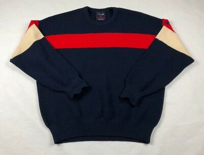 Demetre Sweater Pullover Vintage 100% Pure Virgin Wool Red Navy Mens Sz Large
