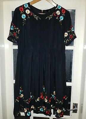 Stunning Asos Maternity Embroidered Floral Black Chiffon Dress 14
