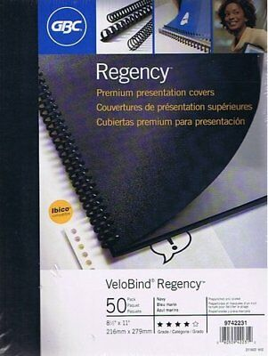 "Regency Premium Presentation Covers 50-pack, 8 1/2"" x 11"", Navy Blue, Prepunched"