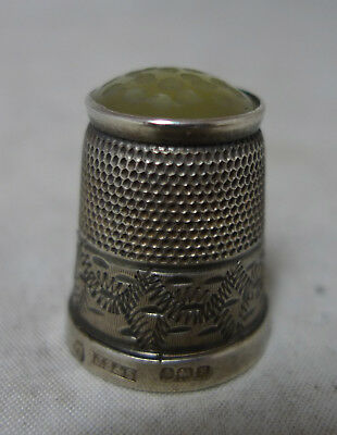 Antique Silver & Stone Set Thimble James Swann Birmingham 1923 Size 7 A629017
