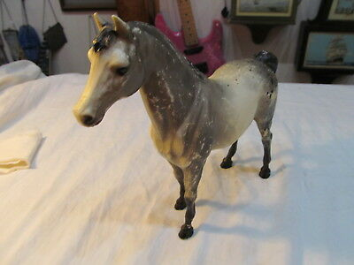 "Signed Vintage Breyer Gray Appalossa Horse 9"" High And 10 1/2"" Long"