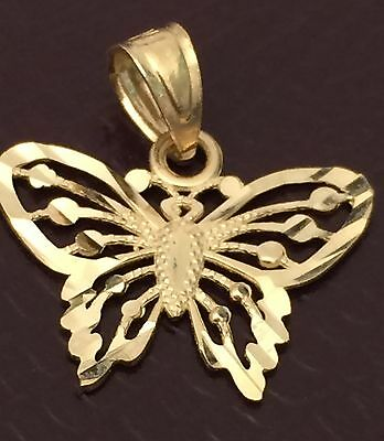 6cbe2dca3 Real 14k yellow Gold Small Butterfly Charm Pendant Diamond Cut Her Woman