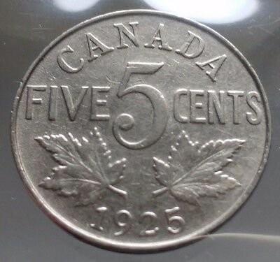 1925 Canada 5 Cents Nickel Coin - RARE KEY DATE - Sealed in Acid-Free Package