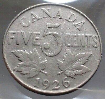 1926 Canada 5 Cents Nickel Coin - SEMI KEY DATE - Sealed in Acid-Free Package