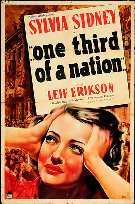 One Third of a Nation 1939 27x41 Orig Movie Poster FFF-65343 Sylvia Sidney