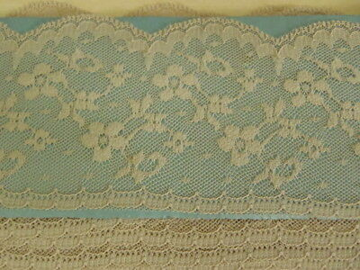 "Vintage French Scalloped Edging Net lace Nylon 10 Yds 2"" wide Color Ecru Lot#02"