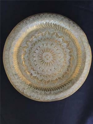 """:) Antique - India Etched Brass and Copper 14"""" Hanging Wall Plate Floral"""