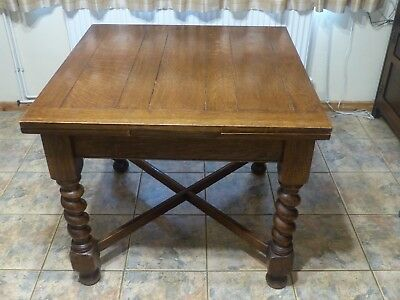 1930s Art Deco Solid Oak Draw Leaf Extending Kitchen / Dining Table