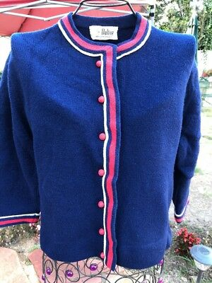Dalton Vintage Cashmere Sweater Navy Red And White Trim