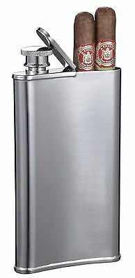 Stainless Steel 4 oz Hip Flask with Built in Cigar Case Holder New