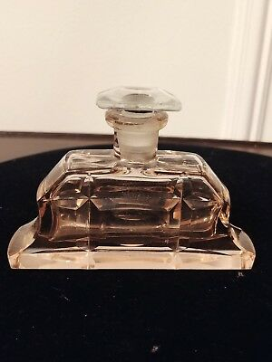 Vintage Art Deco Style Pink Glass Perfume Bottle with Glass Stopper
