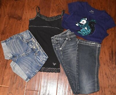 Justice Brand Girls Clothing 4pc Lot Size 12 Jeans Short Cami Everyday School