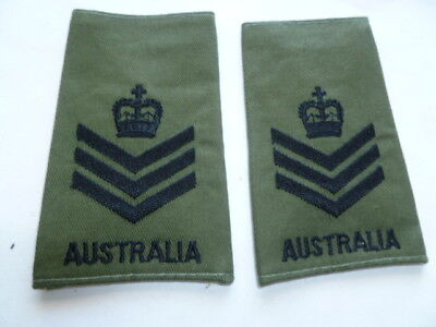 australia army old as new epaulettes pair  vietnam jungle type snr sgt