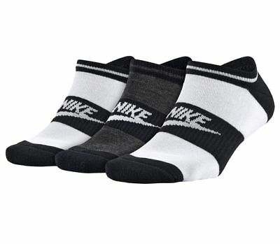 NEW with tags Women's NIKE 3 PAIRS NO SHOW Socks Black White Gray