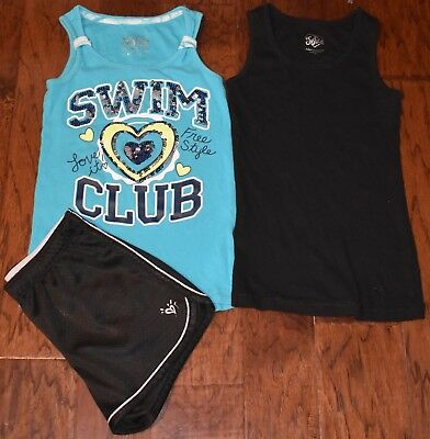 Justice Brand Girls Clothing 3pc Lot Size 10 Shorts Tanks Everyday School