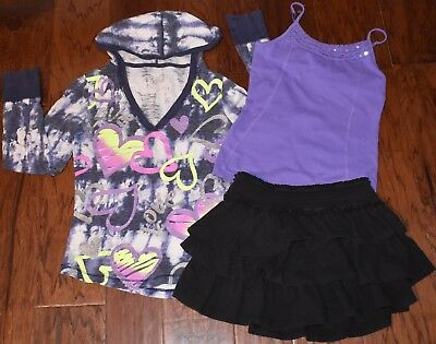 Justice Brand Girls Clothing 3pc Lot Size 8 10 Hoodie Skirt Tank Everyday School