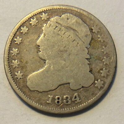 1834 Capped Bust Dime  H451 Free Shipping