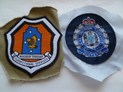 australia NT and VICT old prisons patches  lot of 2 on piece