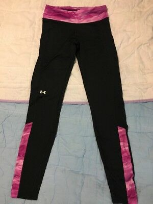 Womens Under Armour Coldgear Compression Leggings Black with Pink Sz Small EUC