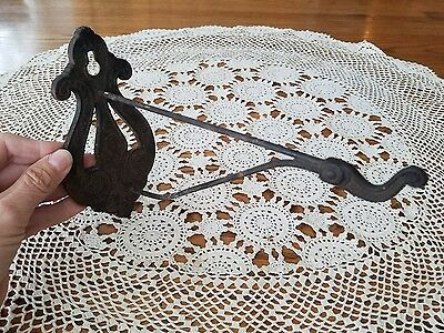 "Antique Ornate Victorian Cast Iron Hanger Hook 6.25T×3.25W×9""deep"
