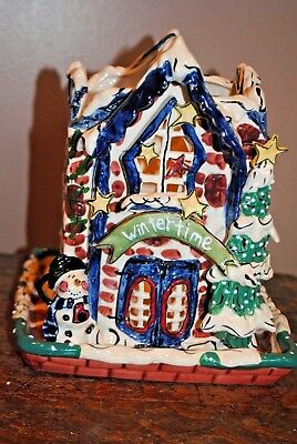 Nice Heather Goldminc Blue Sky Christmas Winter Time Candle Holder with Base