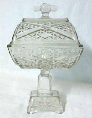 EAPG Early American Pattern Glass Cut Covered Compote Civil War Victorian Era