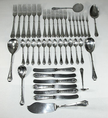 Antique 43 Pc Danish Silver Flatware w/Shell Pattern ~ Christian F. Heise