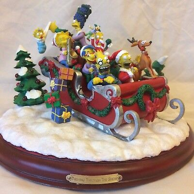 "Rare ""Dashing Through The Snow"" Collectible Christmas Simpsons Figurine"