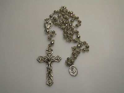 Sterling Silver Rosary Creed Prayer Beads Sparkle Cross Religious
