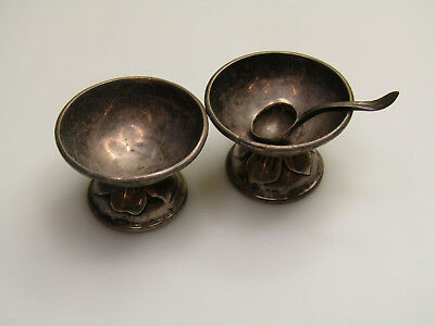 Sterling Silver Taxco Mexico Footed Miniature Bowls w. Tiny Spoon