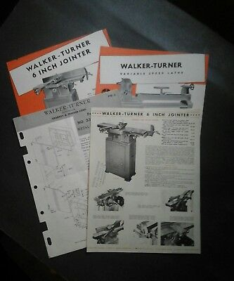 Vtg Walker Turner lathe jointer saw brochure specs, Machinists tool, 4 pieces