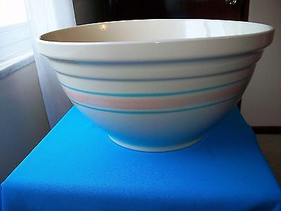 "McCoy Pink Blue Band Stoneware Dough Bowl 14"" w/ Original Label Displayed Only"