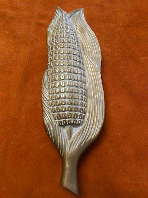 "Vintage Heavy Brass Cornhuskers Corn Farmer Door Knocker 9"" Great Patina!"