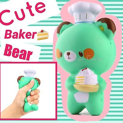 Cute Squishy Green Baker Cook Bear Soft Slow Rising Toy Novelty Gift