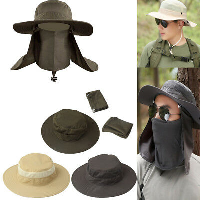 Mens Hiking Fishing Hat Outdoor Sport Sun Protection Neck Face Cap Wide Brim