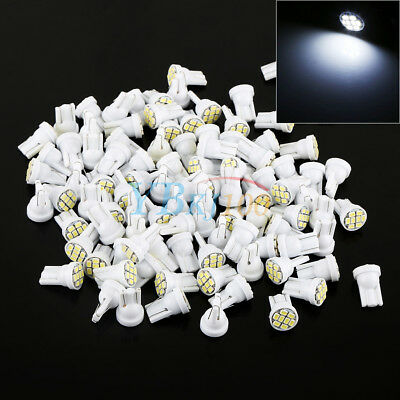 100x White T10 1206 8-SMD LED Car Interior License Plate Door Light Bulbs 12V JS