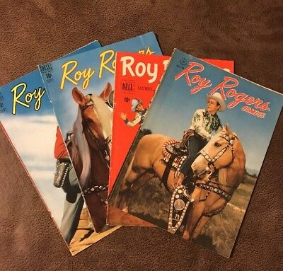 Lot: 4 Roy Rogers Dell Comic Book Covers 1950's Vintage