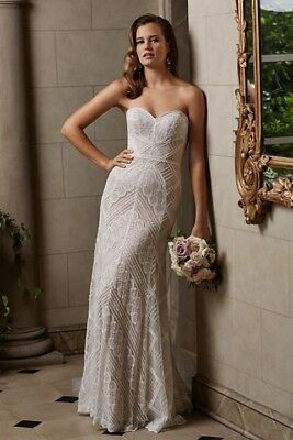 Watters GIA Wedding Gown Strapless Fit And Flare 10