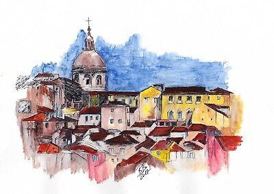 Lisbon, Portugal ~ An Original Abstract Watercolor and Pen Sketch, Signed