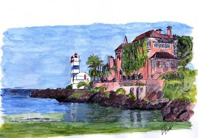 Cascais, LIsbon, Portugal ~ Abstract Watercolor and Pen Style & Signed!