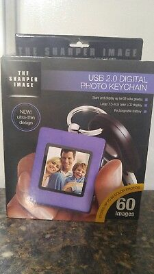 The Sharper Image USB 2.0 Digital Photo Keychain ~ Purple ~ 60 IMAGES ~ NEW