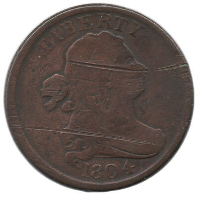 ** 1804 Copper Draped Bust Half Cent ** Early American Coin ** Old ** Rare **