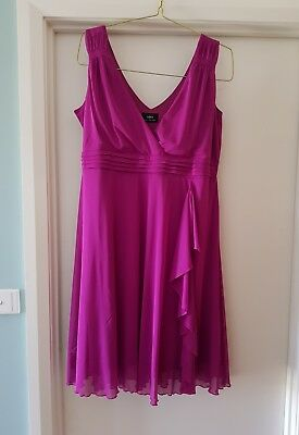Sara Plus Size 1X (18) Magenta Pink Cocktail Evening Party Dress With Ruffle