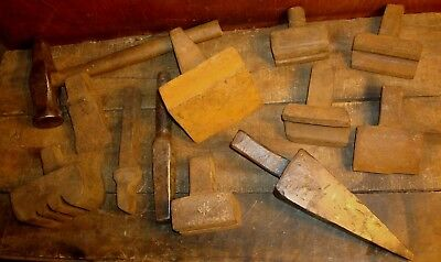 Blacksmith Anvil Hardy Tool Lot Forming Hammer & Hardies